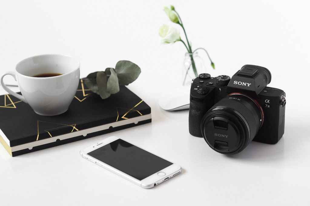 Flatlay with Sony A7iii mirorrless camera