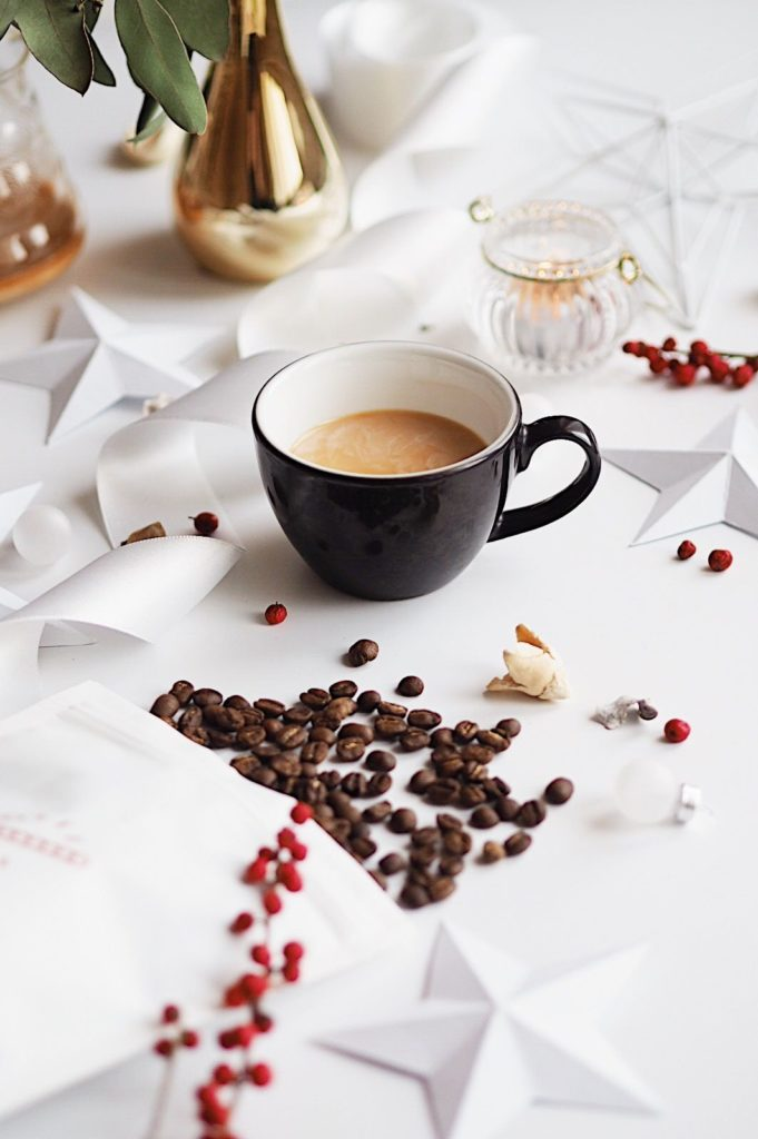 Flatlay with coffee cup and coffee beans