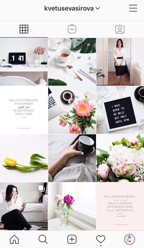 Screensho Instagram účet Květuše Vašířová 6/2020
